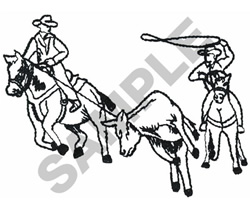 TEAM ROPING OUTLINE embroidery design