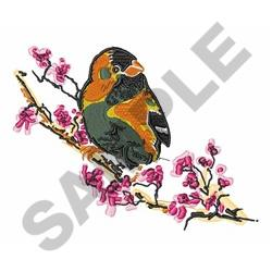Finch On Branch embroidery design