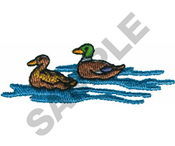 SWIMMING DUCKS embroidery design