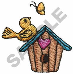 BIRD, BIRDHOUSE &  BUTTERFLY embroidery design