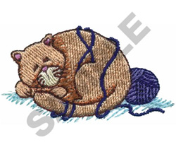 CAT WITH YARN embroidery design