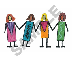 WOMEN HOLDING HANDS embroidery design