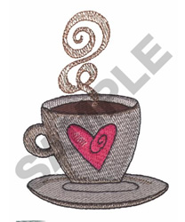 COFFEE CUP WITH HEART embroidery design