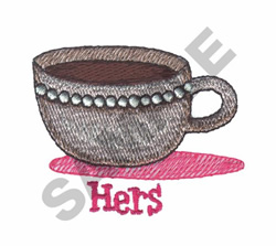 HERS COFFEE CUP embroidery design