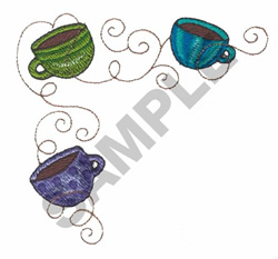 THREE COFFEE CUPS embroidery design