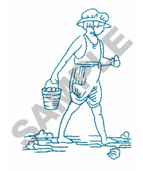 GIRL WITH SAND BUCKET embroidery design