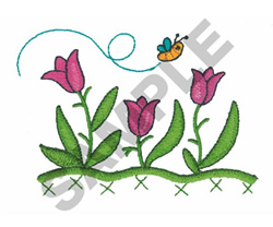 BEE AND FLOWERS embroidery design