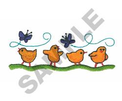 CHICKS & BUTTERFLIES embroidery design