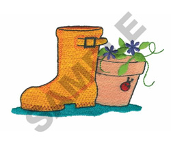 RAIN BOOT/FLOWER POT embroidery design