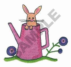 BUNNY IN A WATER CAN embroidery design