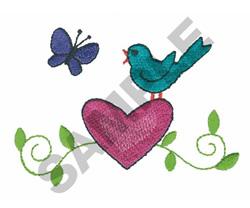 BIRD W/HEART & BUTTERFLY embroidery design