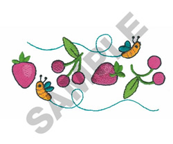 BEES STRAWBERRIES & CHERRIES embroidery design