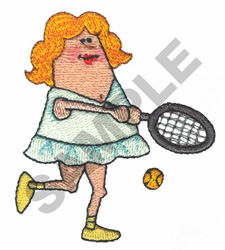 LADY PLAYING TENNIS embroidery design