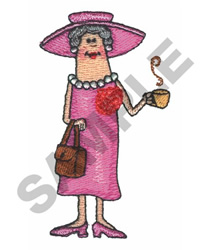 GRANDMOTHER WITH PURSE & COFFEE CUP embroidery design