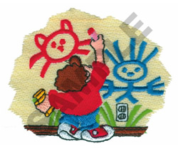 CHILD COLORING ON WALL embroidery design