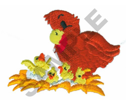 BABY CHICKS WITH HEN embroidery design