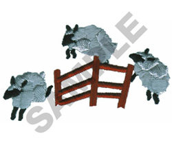 SHEEP JUMPING OVER FENCE embroidery design