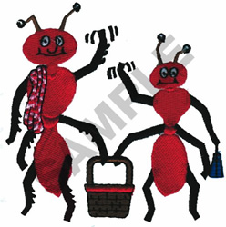 PICNICING ANTS embroidery design