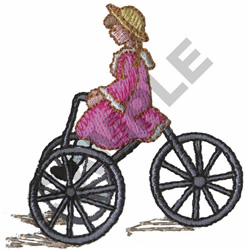 VICTORIAN GIRL RIDING TRICYCLE embroidery design