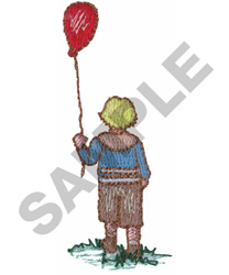 CHILD WITH BALLOON embroidery design