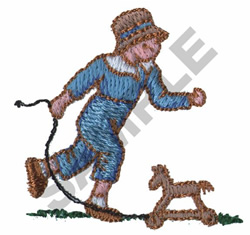 VICTORIAN BOY PULLING HOBBY HORSE embroidery design
