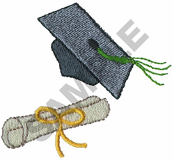 GRADUATION CAP & DIPLOMA embroidery design