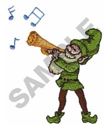 PIXIE PLAYING HORN embroidery design