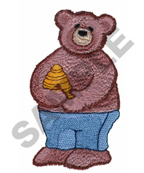 BEAR WITH HONEY embroidery design