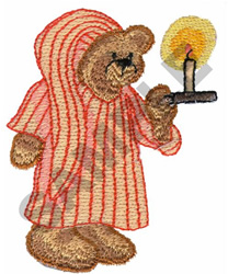 BEAR WITH CANDLE embroidery design