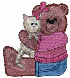 BEAR WITH KITTEN embroidery design