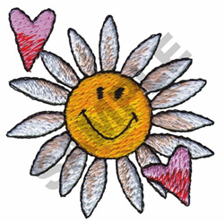 DAISY SMILEY FACE & HEARTS embroidery design