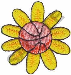 BASKETBALL FLOWER embroidery design