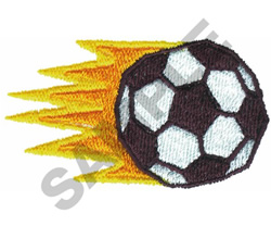 SOCCER BALL WITH FLAME embroidery design