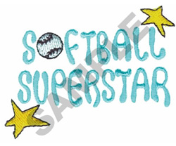 SOFTBALL SUPERSTAR embroidery design