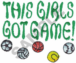 THIS GIRL GOT GAME! embroidery design