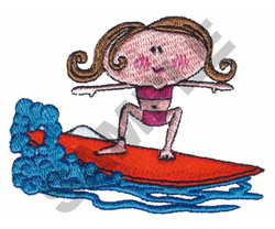 GIRL IN WATER SURFING embroidery design