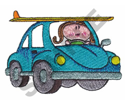 GIRL IN A CAR embroidery design