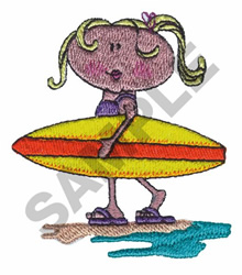 GIRL AND SURF BOARD embroidery design
