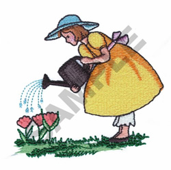 GIRL WATERING FLOWERS embroidery design