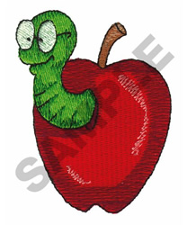 APPLE WITH WORM embroidery design