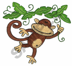 MONKEY HANGING FROM VINES embroidery design