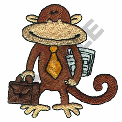 BUSINESS MONKEY embroidery design