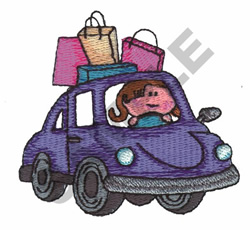 GIRL DRIVING embroidery design