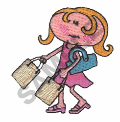 GIRL WITH BAGS embroidery design