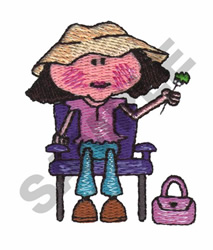 GIRL SITTING ON A CHAIR embroidery design