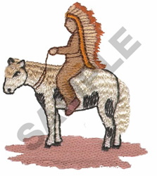 INDIAN CHIEF & HORSE embroidery design