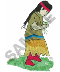 AMERICAN INDIAN GIRL embroidery design