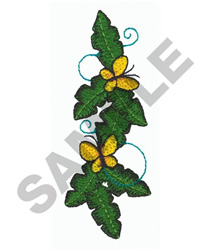 LEAVES W/BUTTERFLIES embroidery design