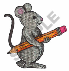MOUSE WITH PENCIL embroidery design