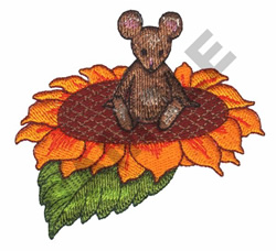 MOUSE ON SUNFLOWER embroidery design